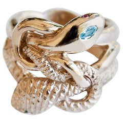 Aquamarine Cocktail Ring Gold Snake Ring Victorian Style Emerald Ruby J Dauphin
