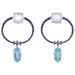 Aquamarine, Moonstone and Sapphire Drop Earrings