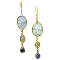Aquamarine, Moonstone & Topaz Tiered Gold Earrings