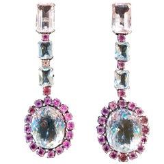 Aquamarine Morganite and Pink Sapphire Earrings