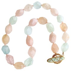 Aquamarine Morganite Nugget Choker Necklace Opal Inlay Toggle, Candie Necklace