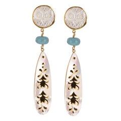 Aquamarine Mother of Pearl 18 Karat Gold Earrings
