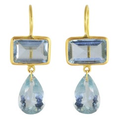 Ico & the Bird Fine Jewelry Aquamarine 2-stone 22 Karat Gold Earrings