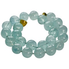Aquamarine Necklace Designed as a Row of Aquamarine Spheres