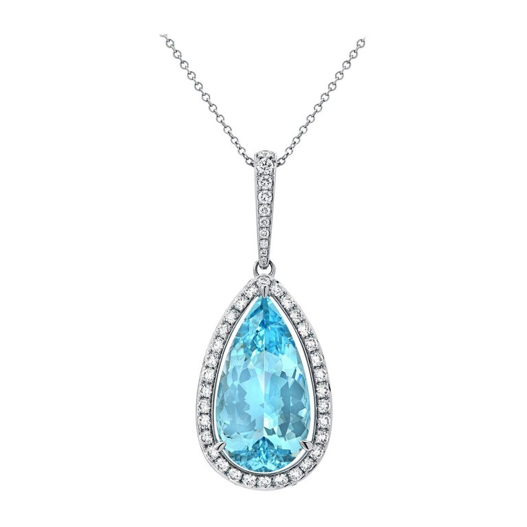 Aquamarine Necklace Pear Shape 24.01 Carats For Sale