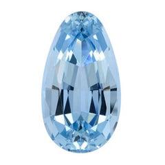Aquamarine Necklace Ring Gem 8.66 Carat Antique Pear Shape Loose Unset Gemstone
