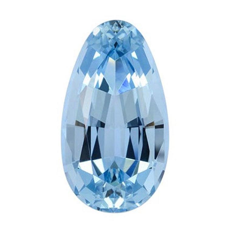 Aquamarine Necklace Ring Gem 8.66 Carat Antique Pear Shape Loose Gemstone For Sale
