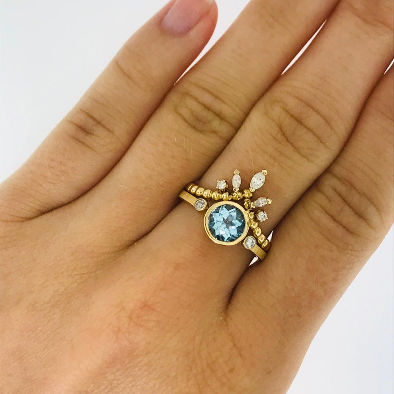 CUSTOM Aquamarine and Diamond Engagement Ring with Diamond V Band   These are one of a kind, Five Star Jewelry pieces. Our take on the