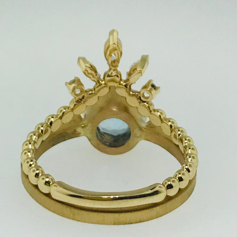 Round Cut Aquamarine One Carat and .25 Carat Diamond Custom Engagement Ring with V Band For Sale