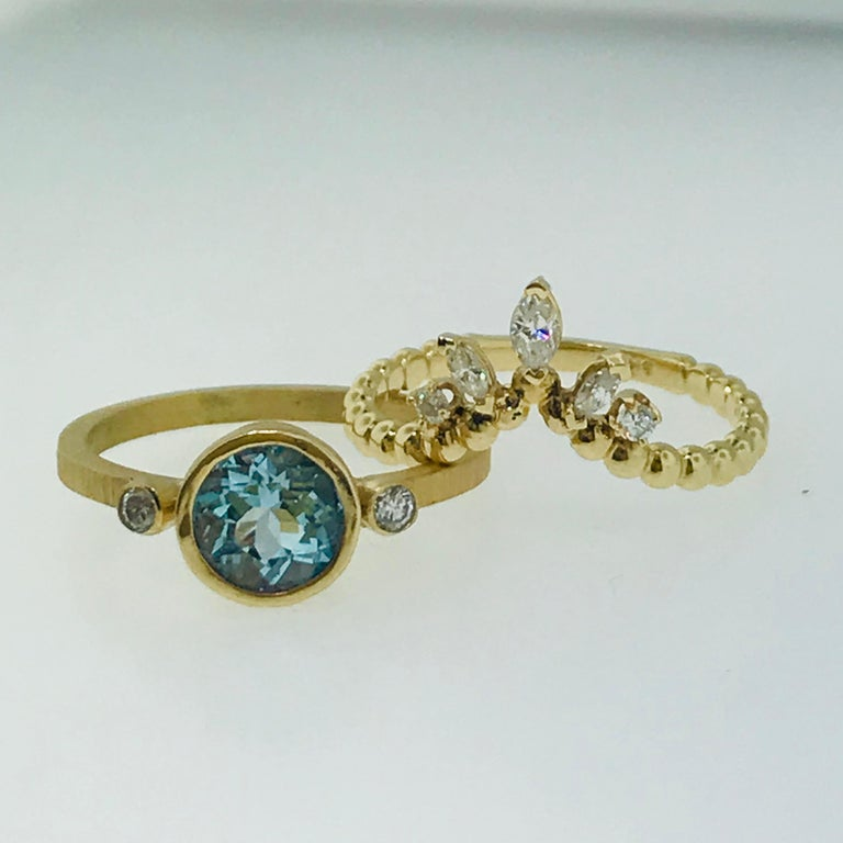 Women's Aquamarine One Carat and .25 Carat Diamond Custom Engagement Ring with V Band For Sale
