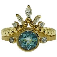Aquamarine One Carat and .25 Carat Diamond Custom Engagement Ring with V Band