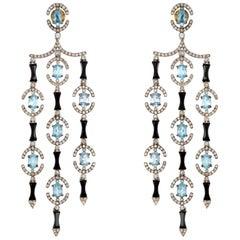 Aquamarine Onyx Diamond Drop Earrings