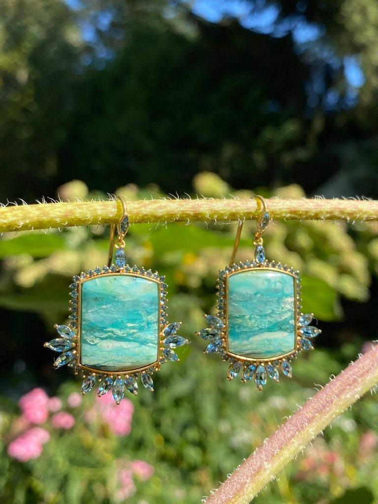 Contemporary Aquamarine, Opalized Wood, 18kt Gold Earrings by Lauren Harper For Sale