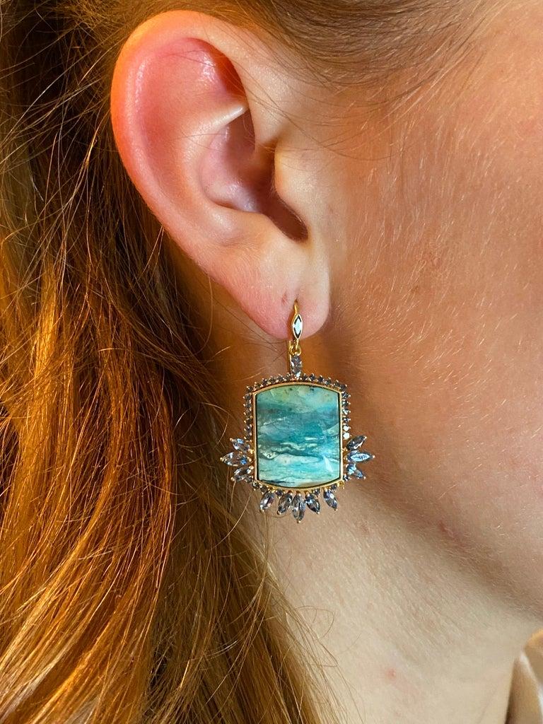 Marquise Cut Aquamarine, Opalized Wood, 18kt Gold Earrings by Lauren Harper For Sale