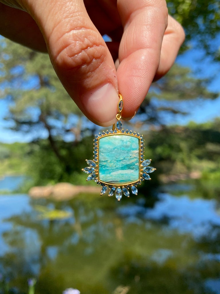 Aquamarine, Opalized Wood, 18kt Gold Earrings by Lauren Harper In New Condition For Sale In Winnetka, IL
