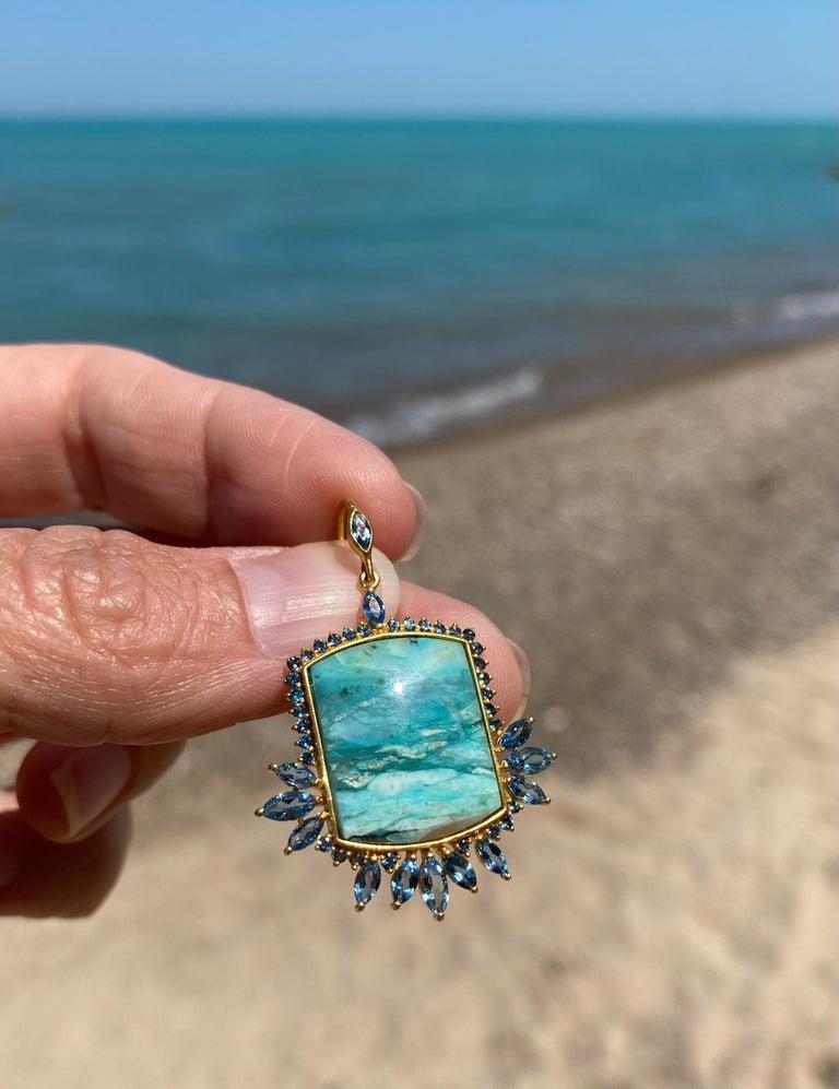 Women's Aquamarine, Opalized Wood, 18kt Gold Earrings by Lauren Harper For Sale