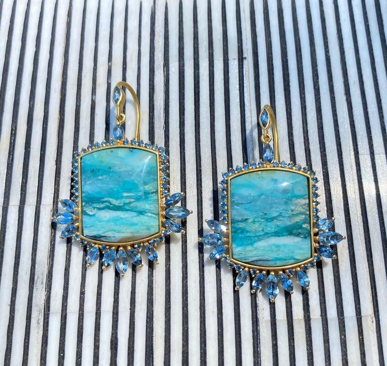 Aquamarine, Opalized Wood, 18kt Gold Earrings by Lauren Harper For Sale 1