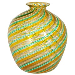 Aquamarine, Orange and Gold Leaf 1970s Murano Glass Vase by F.lli Toso
