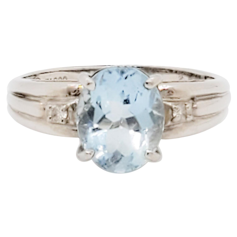 Aquamarine Oval and White Diamond Cocktail Ring in Platinum