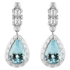 Aquamarine Pear Cut 15.28 Carat and Diamond Drop Earrings