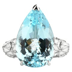 Aquamarine Pear Cut and Diamond Ring
