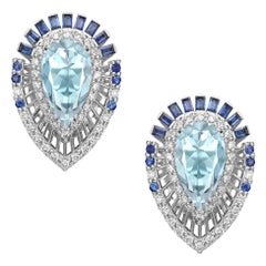 Aquamarine Pear Cut Earring Studs with Sapphires and Diamonds