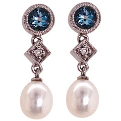 Aquamarine Pearl Diamond Earring, Earring Drops in White Gold, Wedding Earrings