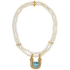 Aquamarine Pendant 20 Carat with Diamonds 6 Carat F-G/VS and Pearl Necklace