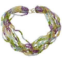 Aquamarine Peridot Citrine Amethyst Torsade Necklace 14 Karat Gold 11-Strand