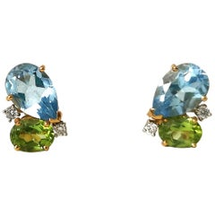 AquaMarine Peridot Diamond Earrings