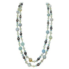 "62"" Long Aquamarine Peridot Freshwater Pearl Necklace"