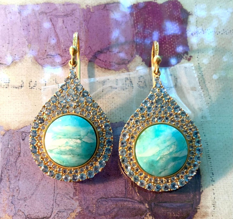 Aquamarine Petrified Opalized Wood 18kt Gold Earrings by Lauren Harper For Sale 4