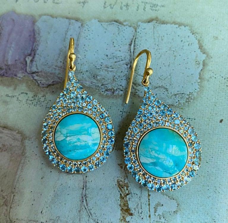 Artisan Aquamarine Petrified Opalized Wood 18kt Gold Earrings by Lauren Harper For Sale