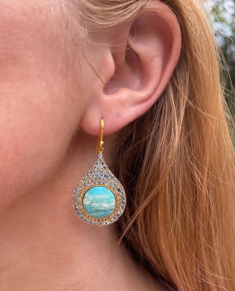 Round Cut Aquamarine Petrified Opalized Wood 18kt Gold Earrings by Lauren Harper For Sale