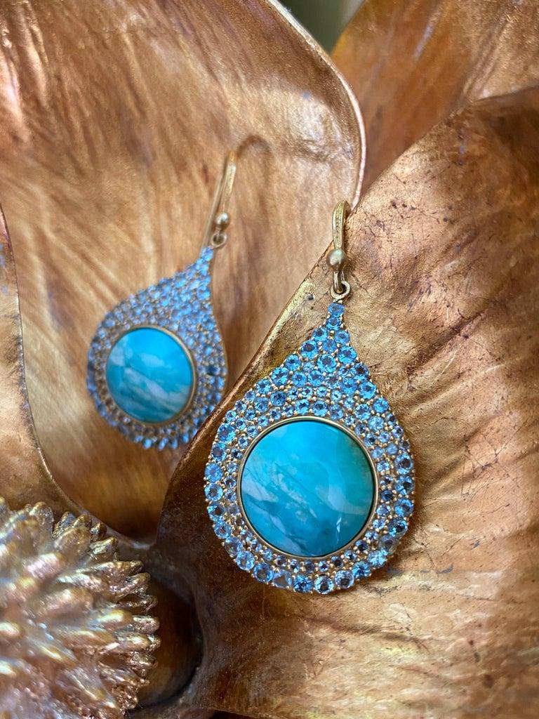 Aquamarine Petrified Opalized Wood 18kt Gold Earrings by Lauren Harper In New Condition For Sale In Winnetka, IL
