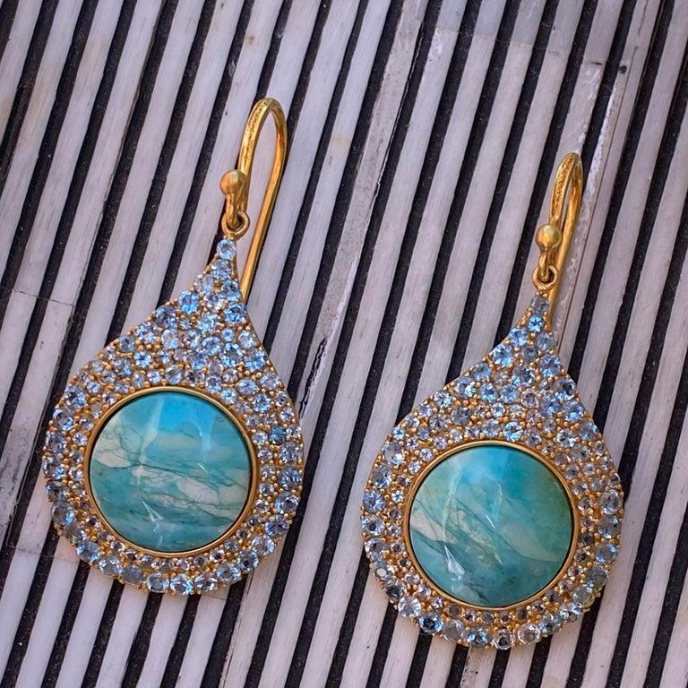Women's Aquamarine Petrified Opalized Wood 18kt Gold Earrings by Lauren Harper For Sale