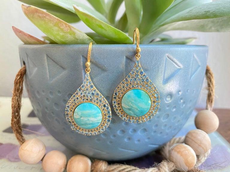 Aquamarine Petrified Opalized Wood 18kt Gold Earrings by Lauren Harper For Sale 1