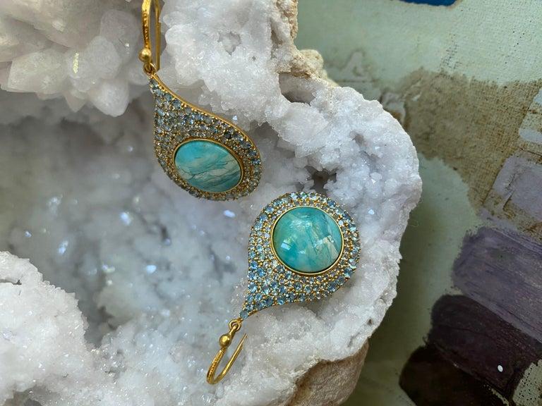 Aquamarine Petrified Opalized Wood 18kt Gold Earrings by Lauren Harper For Sale 2