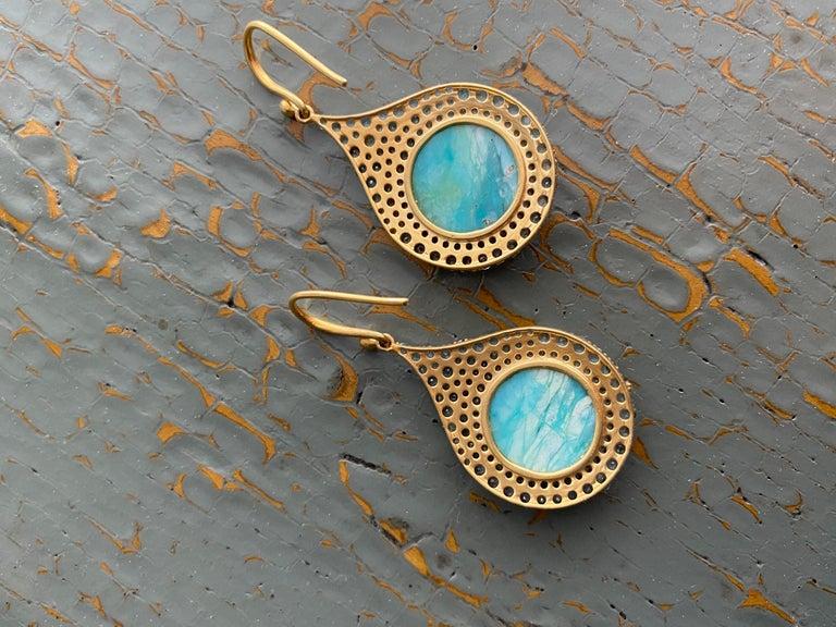 Aquamarine Petrified Opalized Wood 18kt Gold Earrings by Lauren Harper For Sale 3