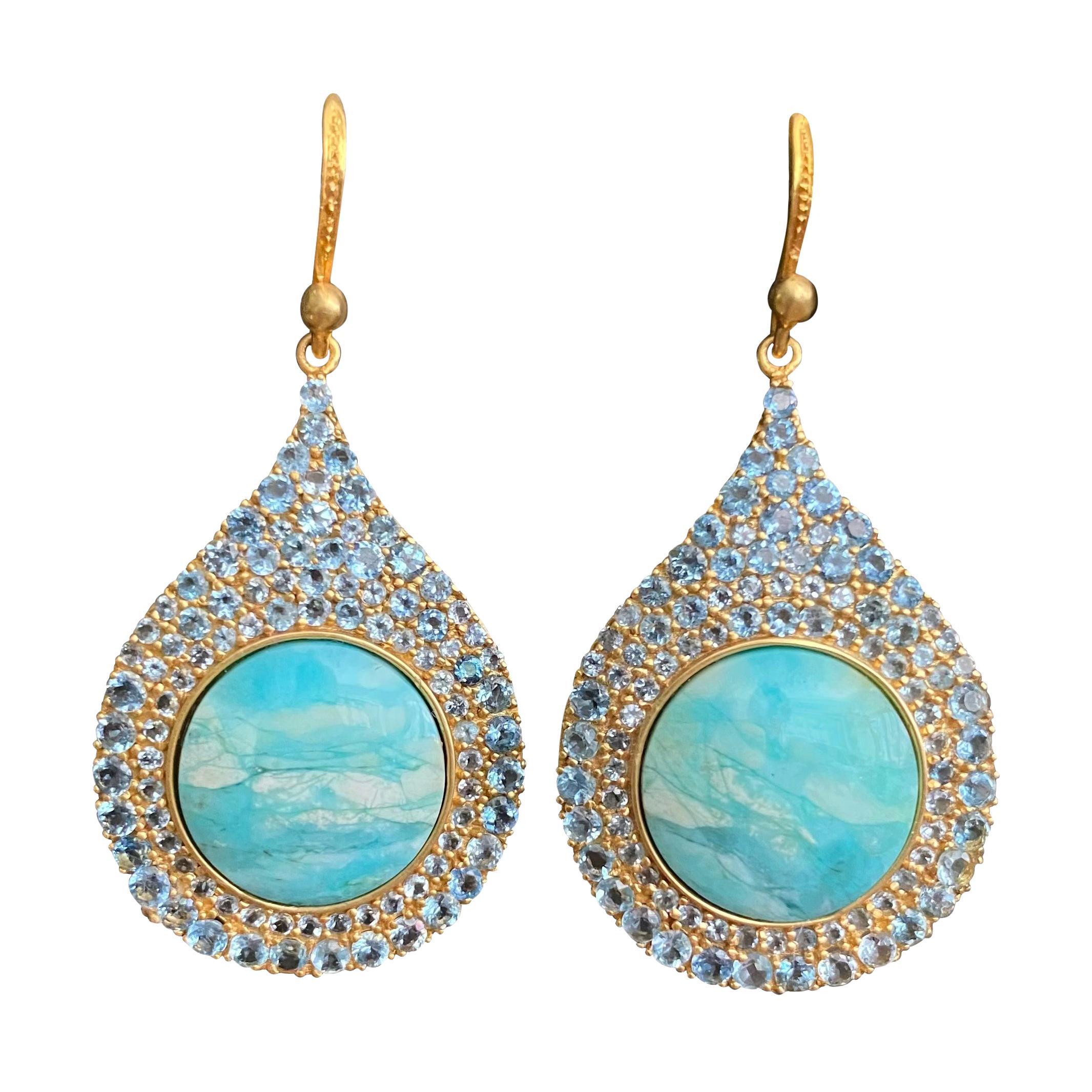 Aquamarine Petrified Opalized Wood 18kt Gold Earrings by Lauren Harper