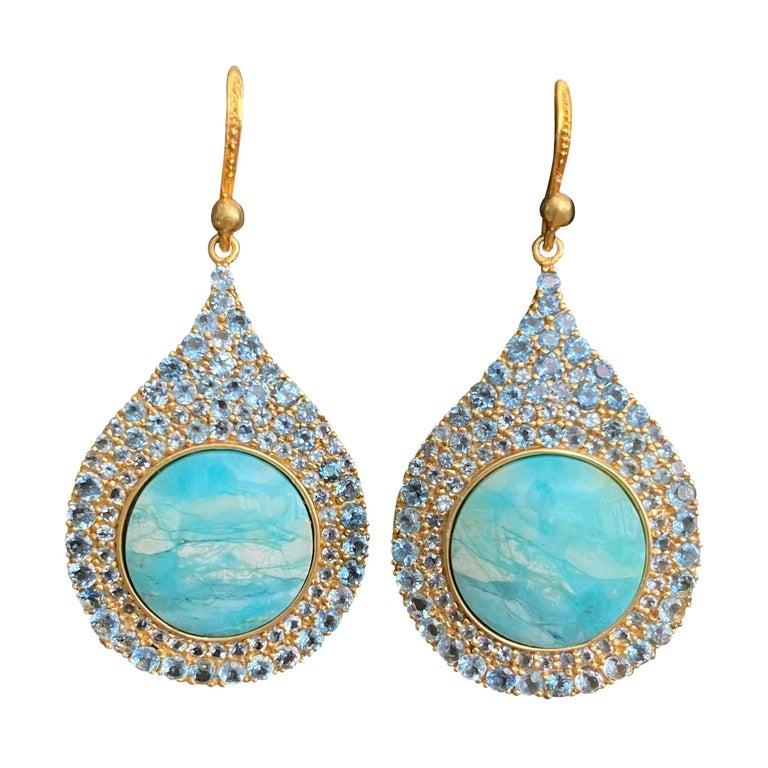 Aquamarine Petrified Opalized Wood 18kt Gold Earrings by Lauren Harper For Sale