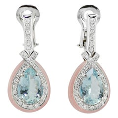 Aquamarine Pink Opal 18 Kt White Gold Diamond Earrings