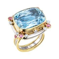 Aquamarine Pink Sapphire Diamond Two Tone Gold Cocktail Ring