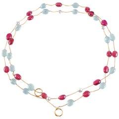 Aquamarine Pink Tourmaline Rubelite Pearl Necklace