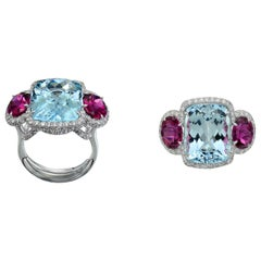 Margherita Burgener Handcrafted Pink Tourmaline Aquamarine Gold Diamond Ring