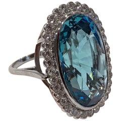 Aquamarine Platinum Diamond Ring, circa 1970