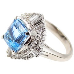 Aquamarine Platinum Diamond Ring