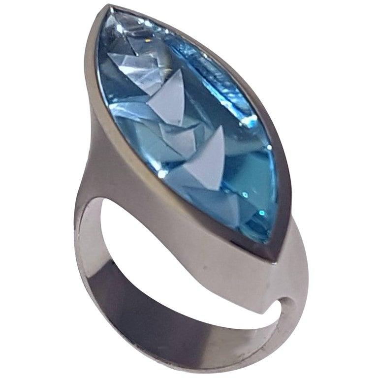 Aquamarine Platinum Ring Atelier Munsteiner For Sale