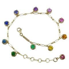 Aquamarine Rainbow Sapphire Tzavorite Gemstone Handmade Bracelet 18 Karat Gold