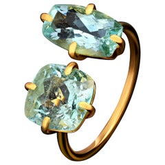 Aquamarine Ring 18 Karat Gold Modern Ring Natural Blue Beryl Two Stones